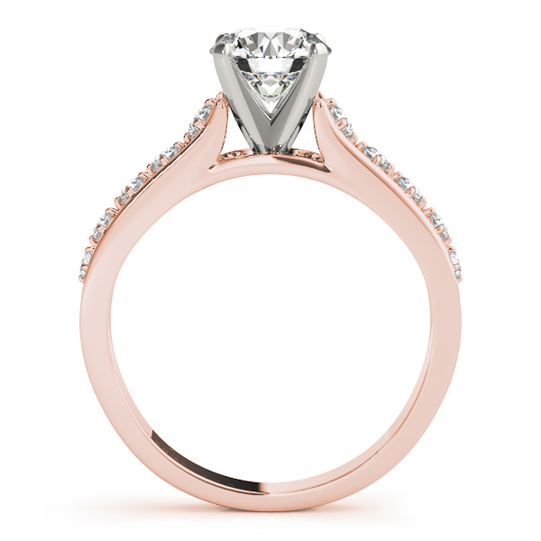 Cathedral Split Band Diamond Engagement Ring in Rose Gold
