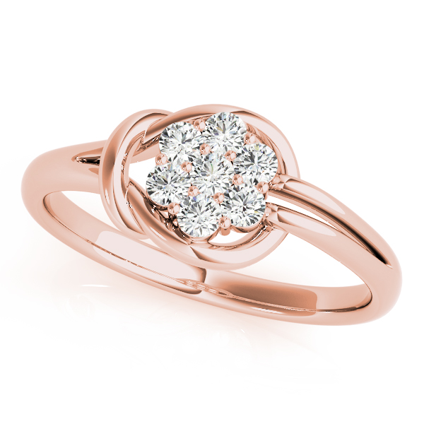 Flower Cluster Love Knot Ring Rose Gold