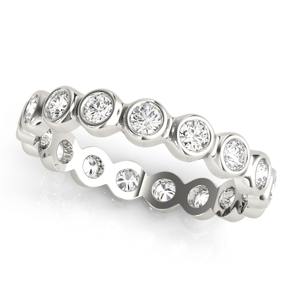 Bezel Round Diamond Eternity Band 0.64 Ct