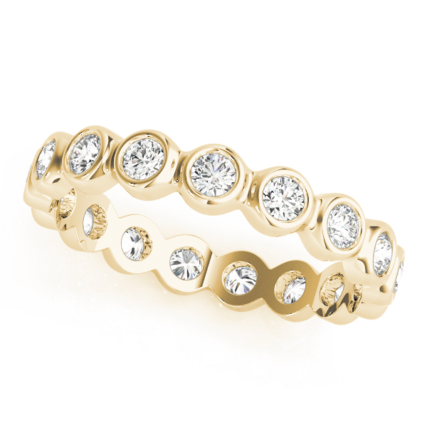 Bezel Diamond Eternity Band 0.64 Ct Yellow Gold