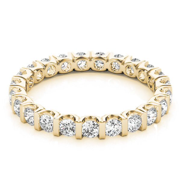 U Bar Diamond Eternity Band 1.1 Ct Yellow Gold