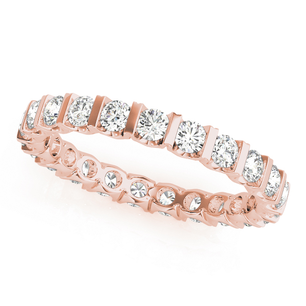 U Bar Diamond Eternity Band 1.1 Ct Rose Gold