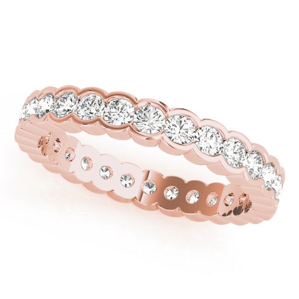 Half Bezel Diamond Eternity Band 3.24 Ct Rose Gold