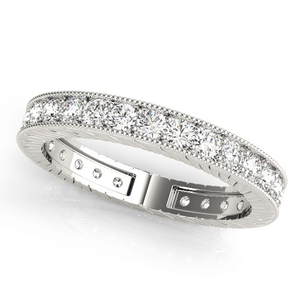 Round Diamond Engraved Eternity Band 0.39 Ct