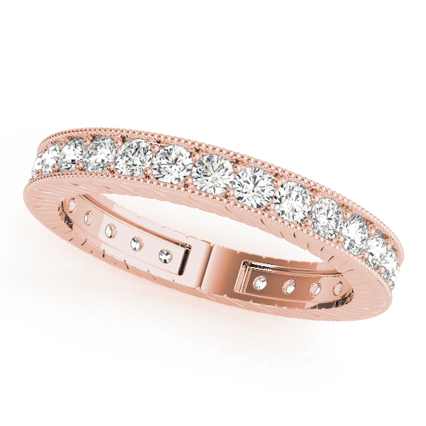 Engraved Diamond Eternity Band 0.84 Ct Rose Gold