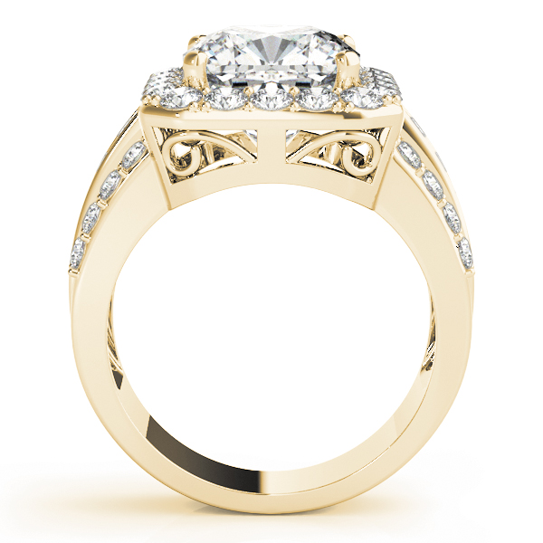 Large Square Halo Diamond Engagement Ring with Multi-Row Band in Yellow Gold