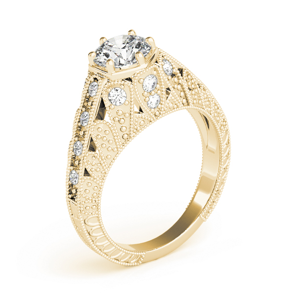 Vintage Hexagon Diamond Engagement Ring, Engraved Band in Yellow Gold