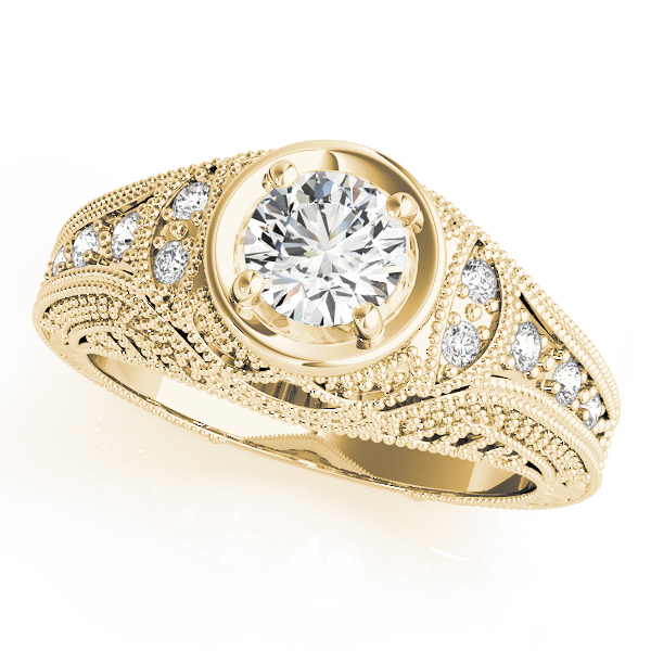Vintage Engraved Diamond Ring Yellow Gold