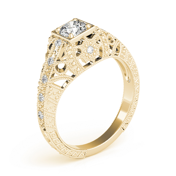 Vintage Filigree Diamond Anniversary Ring in Yellow Gold