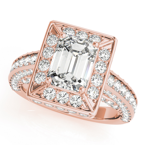 Emearld Cut Diamond Halo Cathedral Legacy Design Engagement Ring in Rose Gold