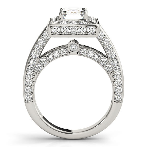 Emearld Cut Diamond Halo Cathedral Legacy Design Engagement Ring