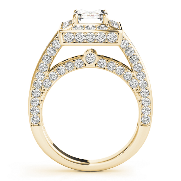 Emearld Cut Diamond Halo Cathedral Legacy Design Engagement Ring in Yellow Gold