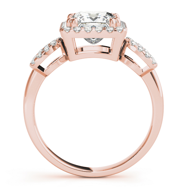Princess Halo Diamond Engagement Ring, Open Band in Rose Gold