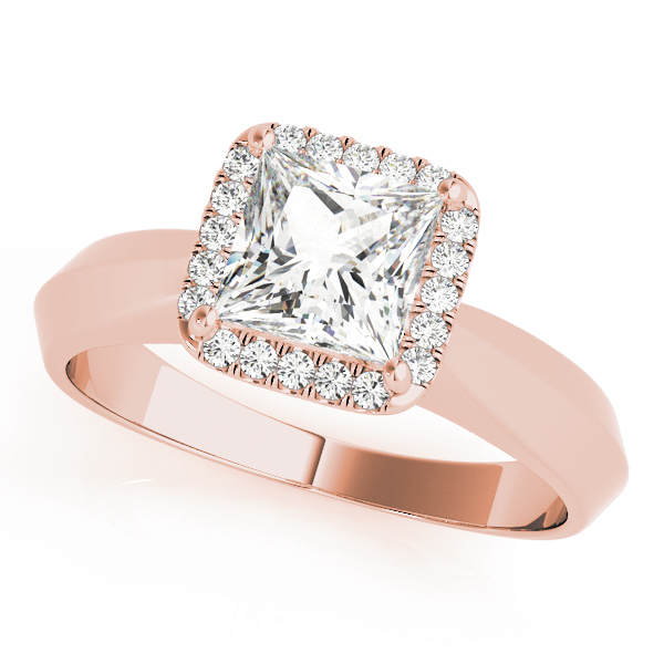 Solitaire Diamond Princess Halo Engagement Ring in Rose Gold