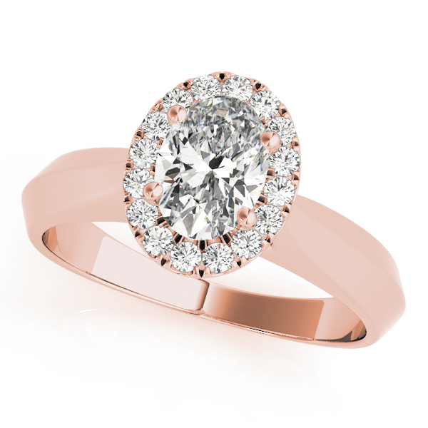 Solitaire Diamond Oval Halo Engagement Ring in Rose Gold