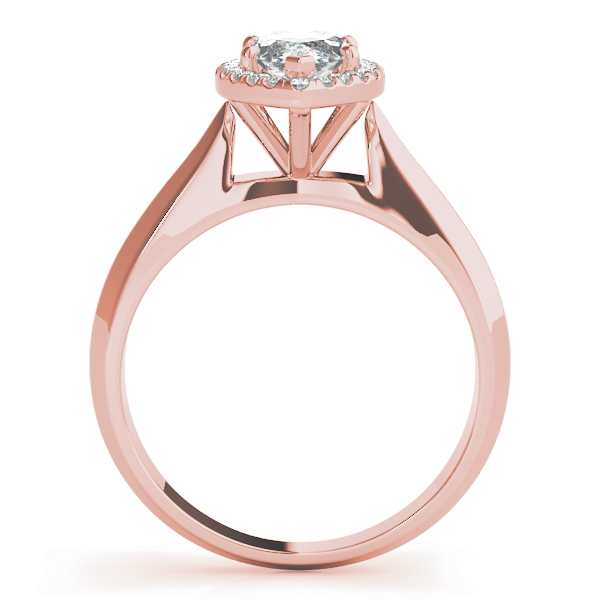 Solitaire Diamond Marquise Halo Engagement Ring in Rose Gold