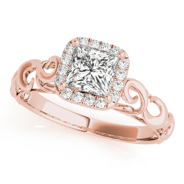 Filigree Halo Princess Cut Diamond Solitaire Engagement Ring in Rose Gold