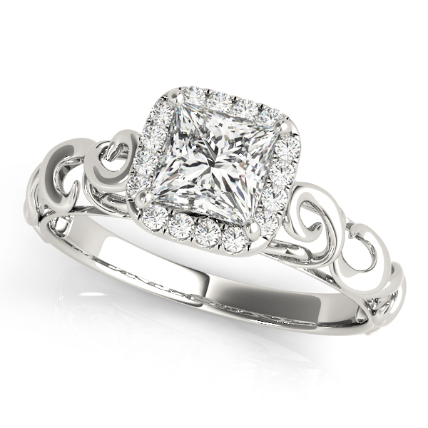 Filigree Halo Princess Cut Diamond Solitaire Engagement Ring