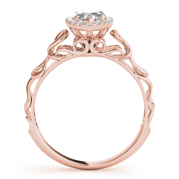 Filigree Halo Marquise Diamond Solitaire Engagement Ring in Rose Gold
