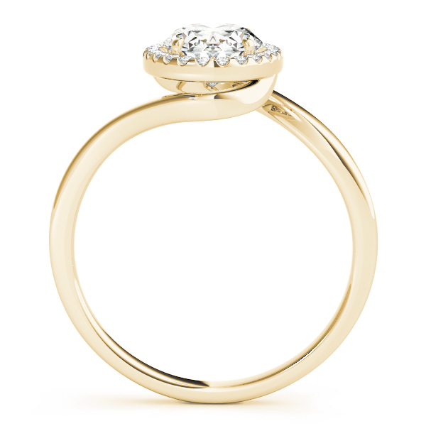 Oval Shape Diamond Swirl Halo Engagement Ring in Yellow Gold