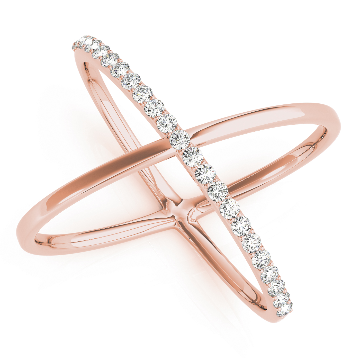 Abstract Criss Cross Diamond Ring in Rose Gold