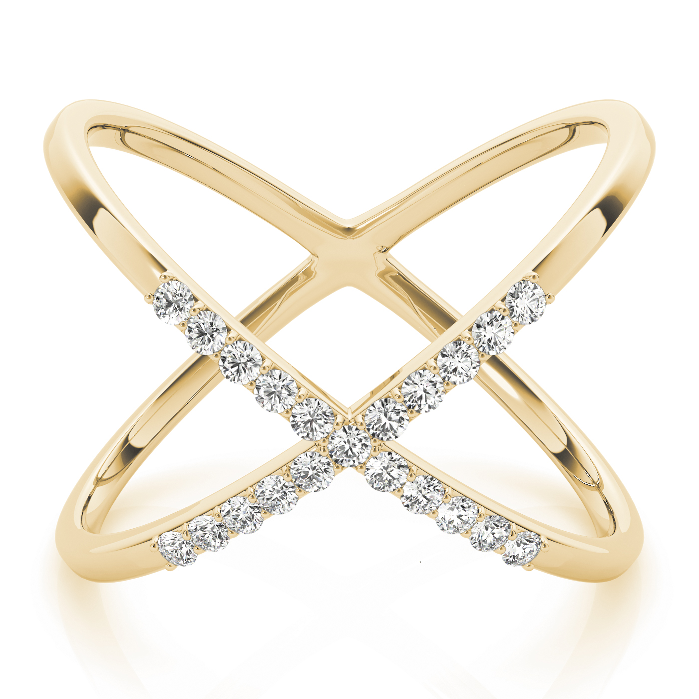 Abstract Criss Cross Diamond Ring in Yellow Gold