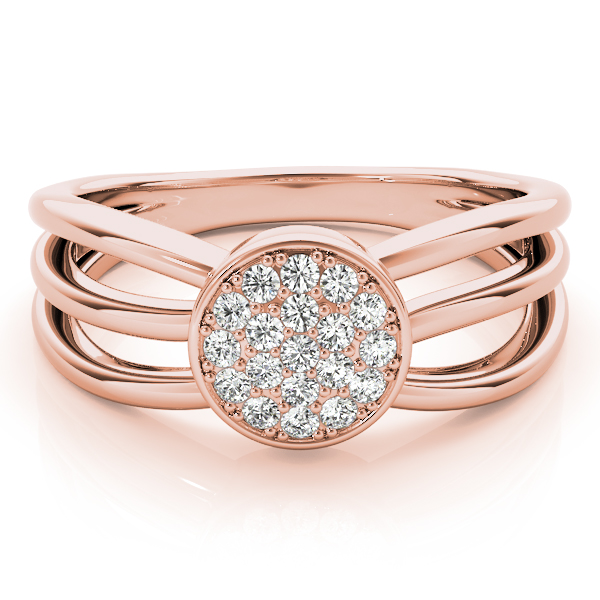 Round Cluster Tri Band Rose Gold