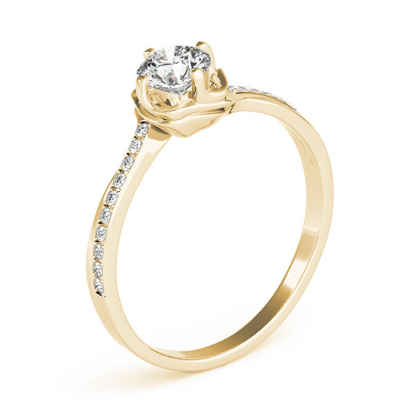 Swirl Petite Diamond Engagement Ring in Rose Gold