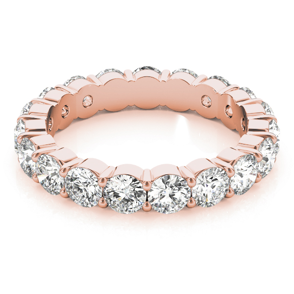 3.4 Carat Rose Gold Eternity Band Round Diamonds