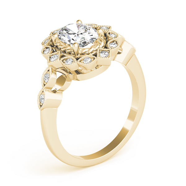 Oval Swing Halo Diamond Engagement Ring in Yellow Gold
