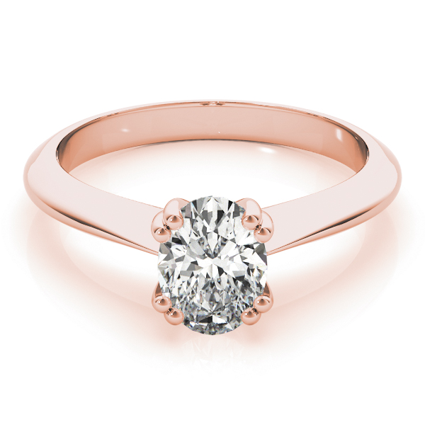 Oval Shaped 	Solitaire Petite Knife Edge Engagement Ring in Rose Gold