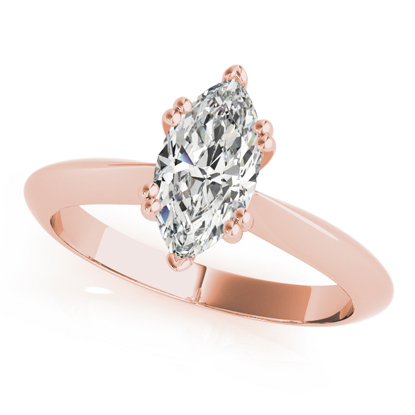 Marquise Cut 	Solitaire Petite Knife Edge Engagement Ring in Rose Gold