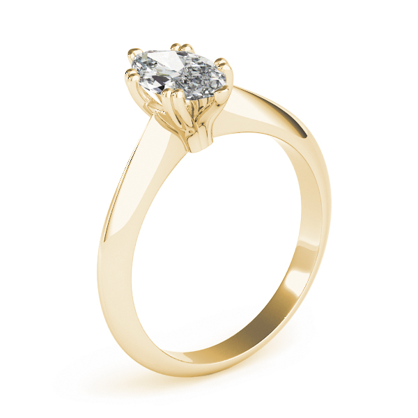Marquise Cut 	Solitaire Petite Knife Edge Engagement Ring in Yellow Gold