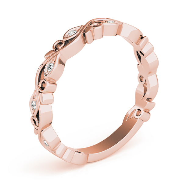 Floral Vine Diamond Rose Gold Stackable Ring