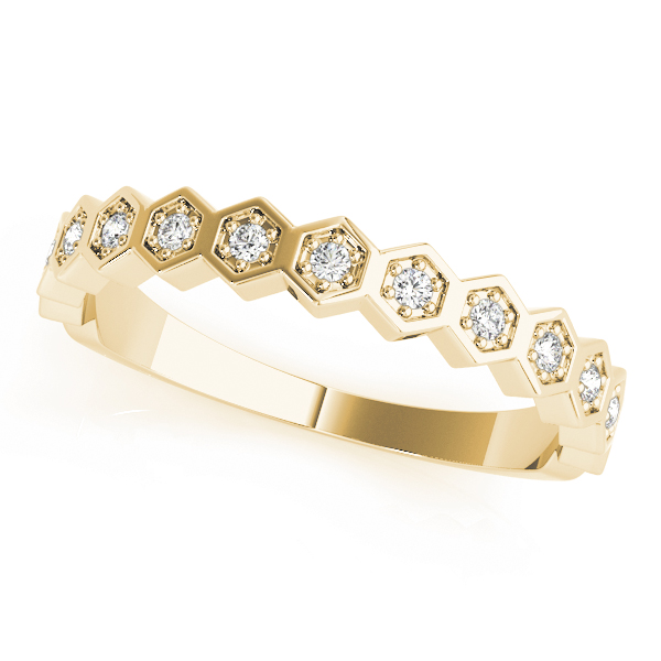 Honeycomb  Diamond Stackable Rings Set