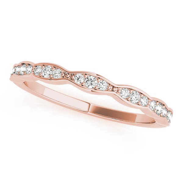 Scalloped Diamond Halo Bridal Set in Rose Gold