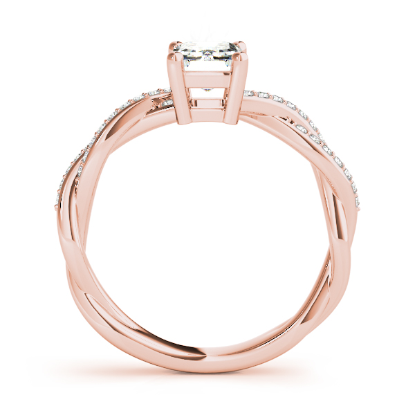 Emerald Cut Petite Eternity Intertwined Diamond Engagement Ring in Rose Gold