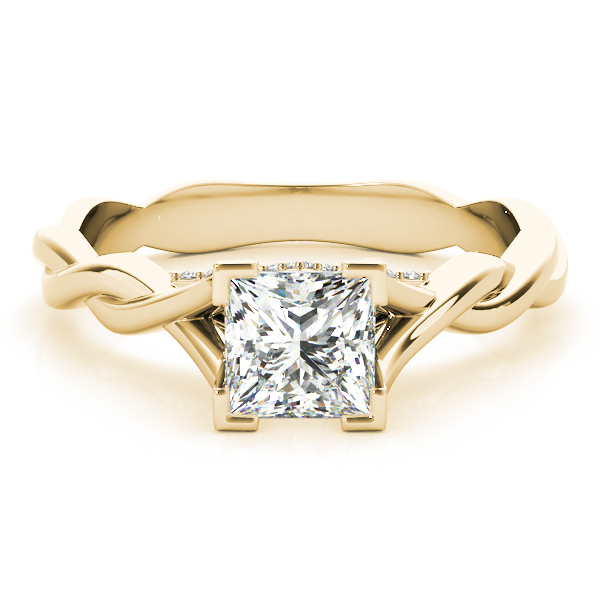 Princess Solitaire Intertwined Engagement Ring with Diamond Accents in Yellow Gold