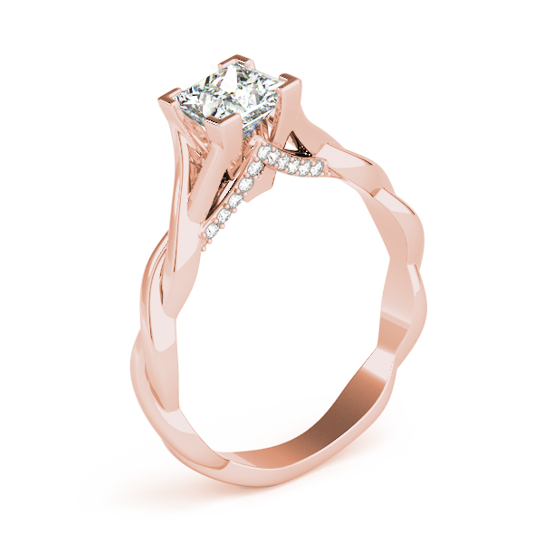 Princess Solitaire Intertwined Engagement Ring with Diamond Accents in Rose Gold