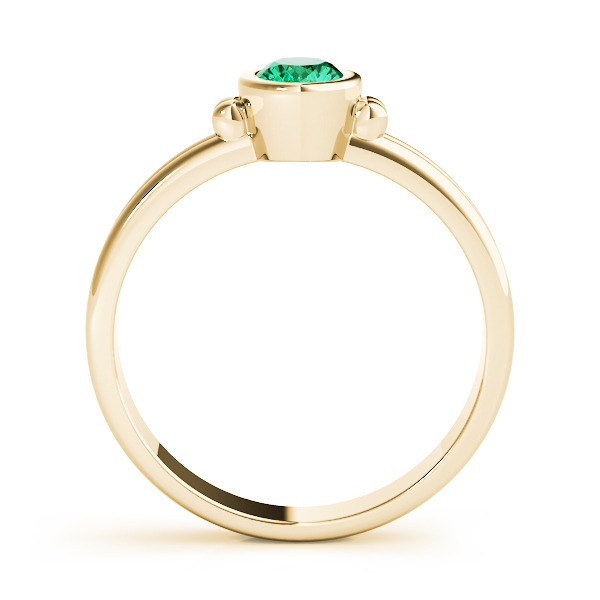 Oval Green Emerald Bezel Yellow Gold Ring