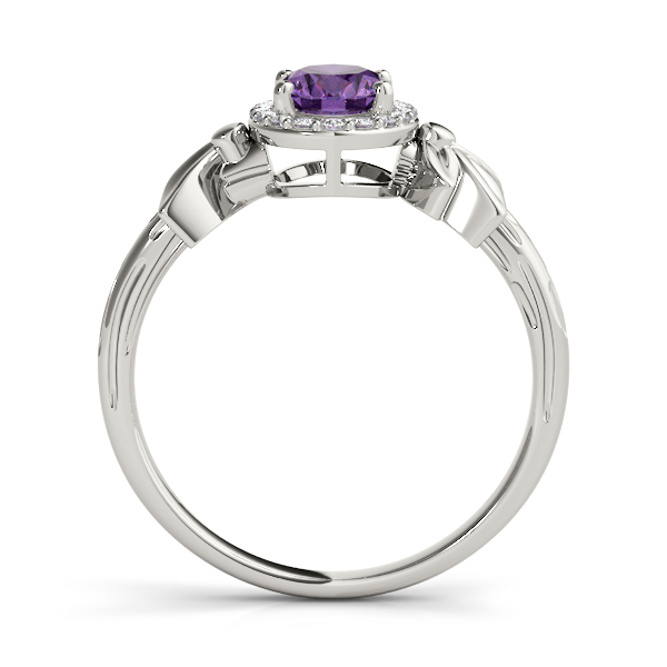 Oval Purple Amethyst Floral Halo Ring