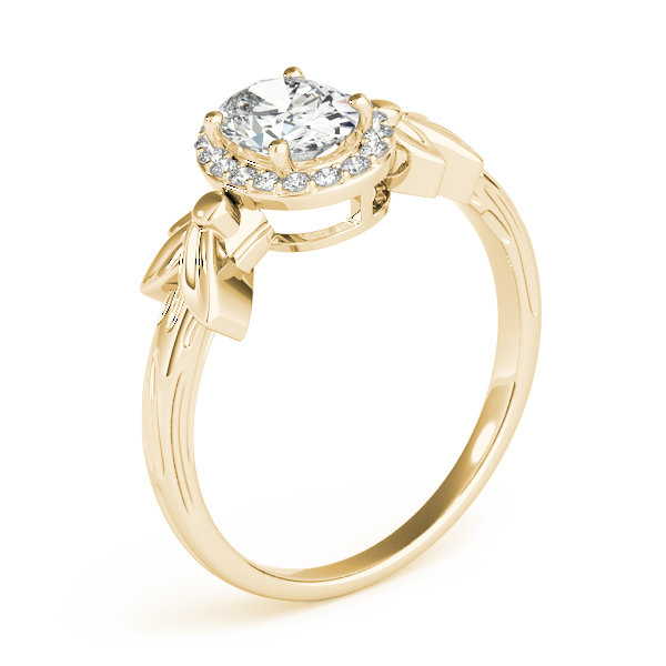 Oval Diamond Floral Halo Ring Yellow Gold