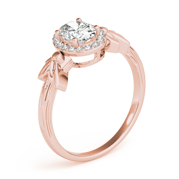Oval Diamond Floral Halo Ring Rose Gold