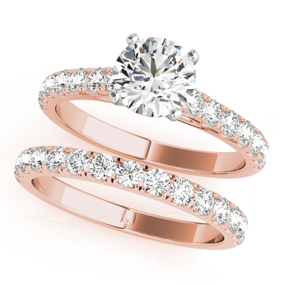 Cathedral U Prong Diamond Bridal Set Rose Gold