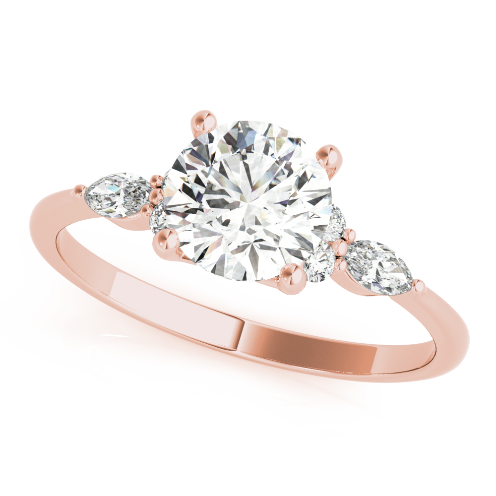 Floral Marquise Diamond Ring Rose Gold