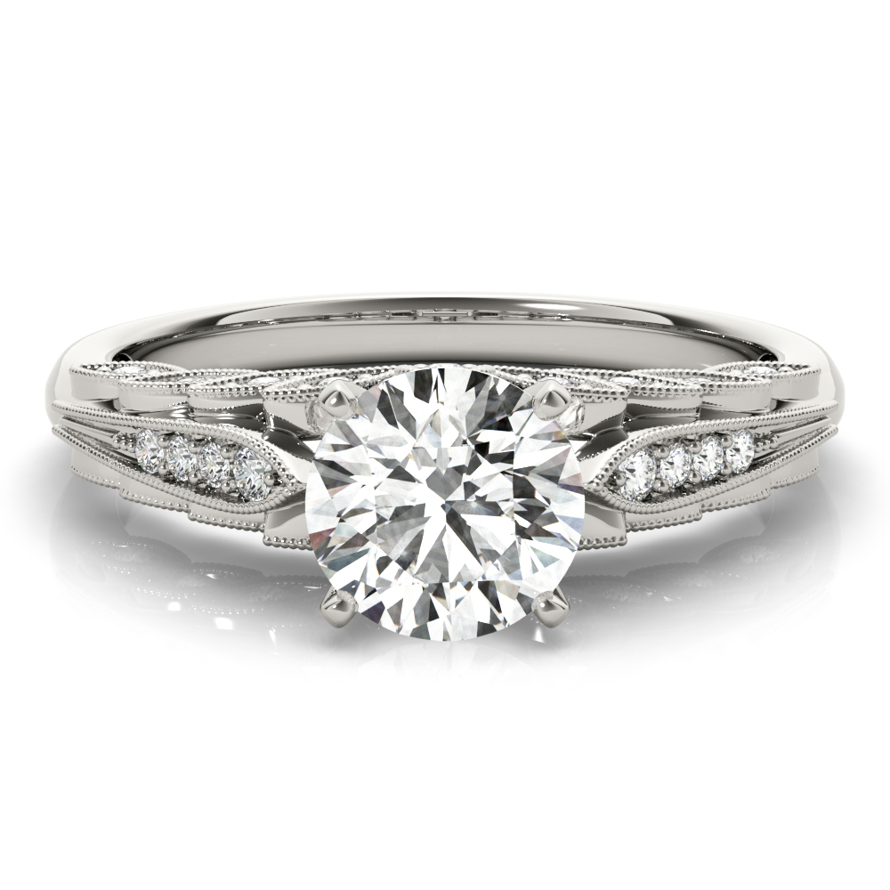 Graduated Floral Diamond Engagement Ring