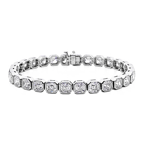 8.7 Carat Asscher Diamond Tennis Bracelet G-H -VS