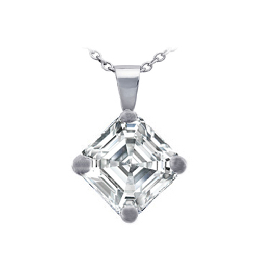 Asscher Cut Diamond Pendant Necklace G-H VS-SI 0.48 tcw.