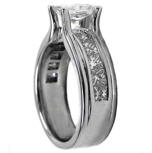 Platinum Radiant Cut Diamond Bridge Style Engagement Ring 1.15 tcw.