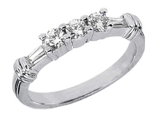 Round & Tapered Baguette Cut Diamond Wedding Ring 0.50 tcw. In 14K White Gold